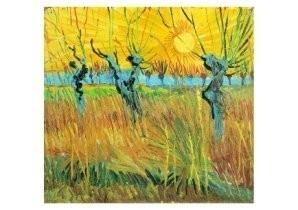 Vincent van Gogh (1853-1890) -Knotwilgen,zon- Postkaart
