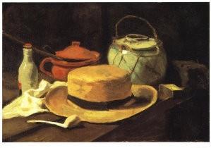 Vincent van Gogh (1853-1890) -V.v.Gogh/Silleven,gele hoed/KM- Postkaart