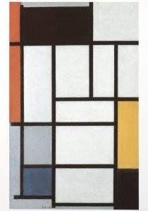Mondriaan (1872-1944)Mondrian -Compositie met rood, geel en blauw- Postkaart