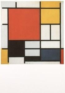Mondriaan (1872-1944)Mondrian -Compositie met rood, geel, blauw en zwart- Postkaart