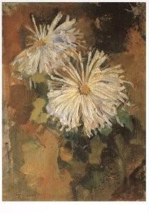 Mondriaan (1872-1944)Mondrian -Twee chrysanten- Postkaart