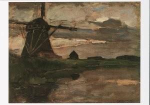 Piet Mondriaan (1872-1944) -Molen aan het Gein, 1906-07- Postkaart