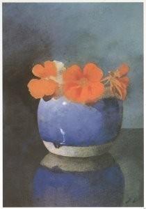 Jan Voerman sr. (1857-1941) -Oost-Indische kers in blauwe gemberpot- Postkaart