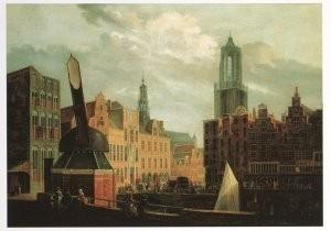 P.J. van Liender (1696-1759) -Gezicht op de stadhuisbrug met omgeving te Utrecht- Postkaart