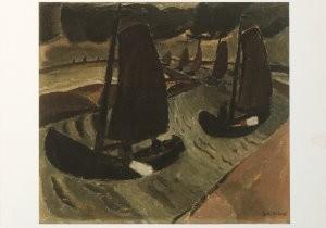 Gustave de Smet (1877-1943) -Vissersschuiten (Vissersboten in het rivier- en- Postkaart