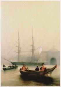 A. P. Bogoljubov (1824-1896) -Op de Newa ter hoogte van de Admiraliteit, 1850- Postkaart