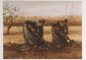 Vincent van Gogh (1853-1890) -Twee aardappelrooiende boerinnen - Two peasant wom- Postkaart