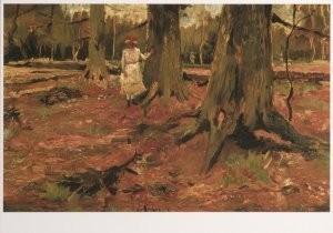 Vincent van Gogh (1853-1890) -Haagsee bos met meisjesfiguur in het wit - Young g- Postkaart