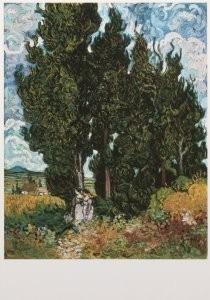 Vincent van Gogh (1853-1890) -Cypressen met twee vrouwenfiguren - Cypresses with- Postkaart