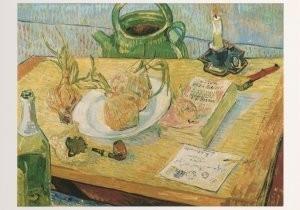 Vincent van Gogh (1853-1890) -Stilleven met tekenplank. tabakspijp, uien - Still- Postkaart