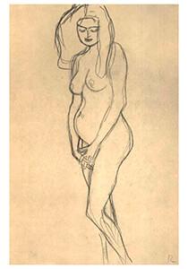 Gustav Klimt (1862-1918) -Pregnant nude heading left- Postkaart
