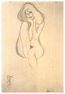 Gustav Klimt (1862-1918) -Seated female nude - frontal view- Postkaart