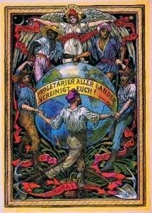 Walter Crane (1845-1915) -Int. solidariteit arbe- Postkaart