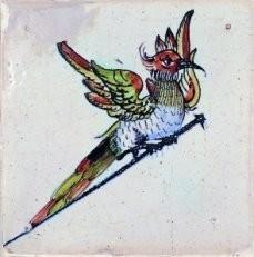 Anoniem -Spijkertegel met vogel.- Postkaart