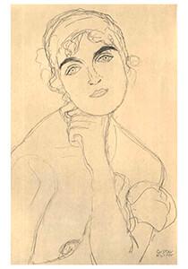 Gustav Klimt (1862-1918) -Female portrait - frontal view- Postkaart