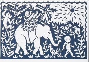 Eddy Varekamp (1949) -Olifant met kind- Postkaart