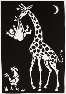 Eddy Varekamp (1949) -Giraffe met kind en haan- Postkaart