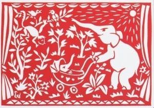 Eddy Varekamp (1949) -Olifant met jong- Postkaart