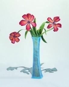 Arja van den Berg (1947) -Glazen vaas,tulpen- Postkaart