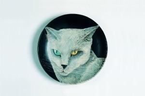 Arja van den Berg (1947) -Poes,groen+geel oog- Postkaart