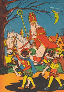 A.N.B. -Sinterklaas met zwarte pieten op pad- Postkaart