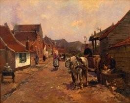 German Grobe (1857-1938) -Loggerstraat, Katwijk- Postkaart