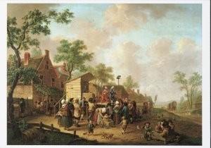 Hendrik Willem Schweickhardt -Dorpsscene met kwakzalver, 1782- Postkaart