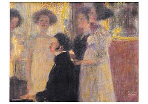 Gustav Klimt (1862-1918) -Schubert am Klavier I, 1896- Postkaart