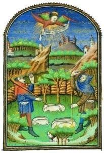 Jean Fouquet (ca.1420-1477/81)-Verkondiging aan Herders- Postkaart