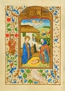 Jean Fouquet (ca.1420-1477/81)-Geboorte Christus David HarpKB- Postkaart