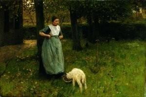 Anton Mauve (1838-1888) -Larense Vrouw- Postkaart