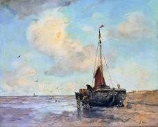 Jacob Maris (1837-1899) -Bomschuit strand- Postkaart