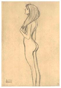 Gustav Klimt (1862-1918) -Drawing of nude standing female, facing left- Postkaart