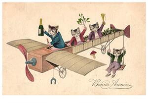 Anonymus -Katjes met champagne in een vliegtuig- Postkaart
