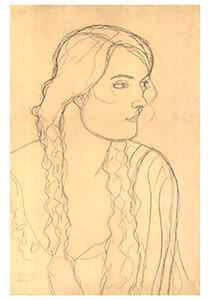 Gustav Klimt (1862-1918) -Portrait of a girl with plait- Postkaart