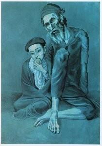 Pablo Picasso (1881-1973) -Old Jewish man with boy, 1903- Postkaart