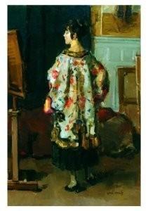 Isaac Israels (1865-1934) -Model in driekwart- Postkaart