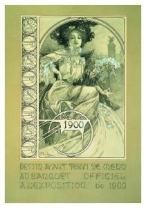 Alphons Maria Mucha (1860-1939-Menu design for the o- Postkaart