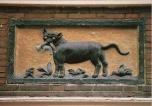 -Gevelsteen met kat en muis - 17e eeuw- Postkaart