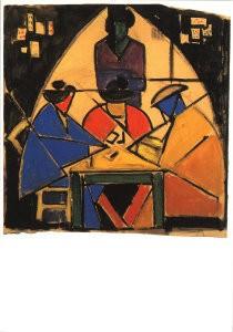 Theo van Doesburg (1883-1931) -Voorstudie kaartspelers,- Postkaart