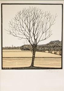 Julie de Graag (1877-1924) -Kale boom in landschap, 1919- Postkaart