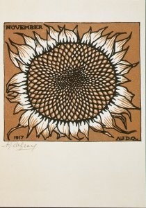 Julie de Graag (1877-1924) -Zonnebloem/November, 1917- Postkaart