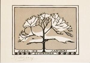 Julie de Graag (1877-1924) -Lijsterbes / Januari, 1918- Postkaart