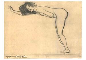 Gustav Klimt (1862-1918) -Staying female nude with bended body heading left- Postkaart