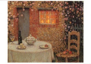 Henri le Sidaner (1862-1939) -Gedekte tafel- Postkaart