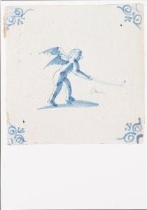 -Kolfspelende Amor- Postkaart