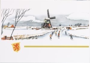 Jan Lavies (1902-2005) -Bovenzijde menu Hol-A- Postkaart