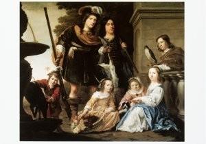Jacob W. Delff  (1619-1661) -Groepsportret van zeven kinderen van Maarten H. Tr- Postkaart