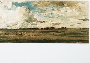 Daubigny (1817-1878) -De oogsters, ca. 1875- Postkaart