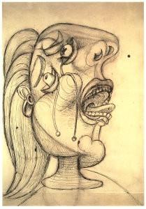 Pablo Picasso (1881-1973) -Huilende kop- Postkaart